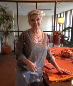 Judy prepares Table for September Fall Meeting Lunch